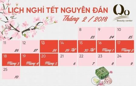 Thông báo lịch nghỉ tết năm 2018 tại thẩm mỹ viện  Thanh Quỳnh ở Hà Nội